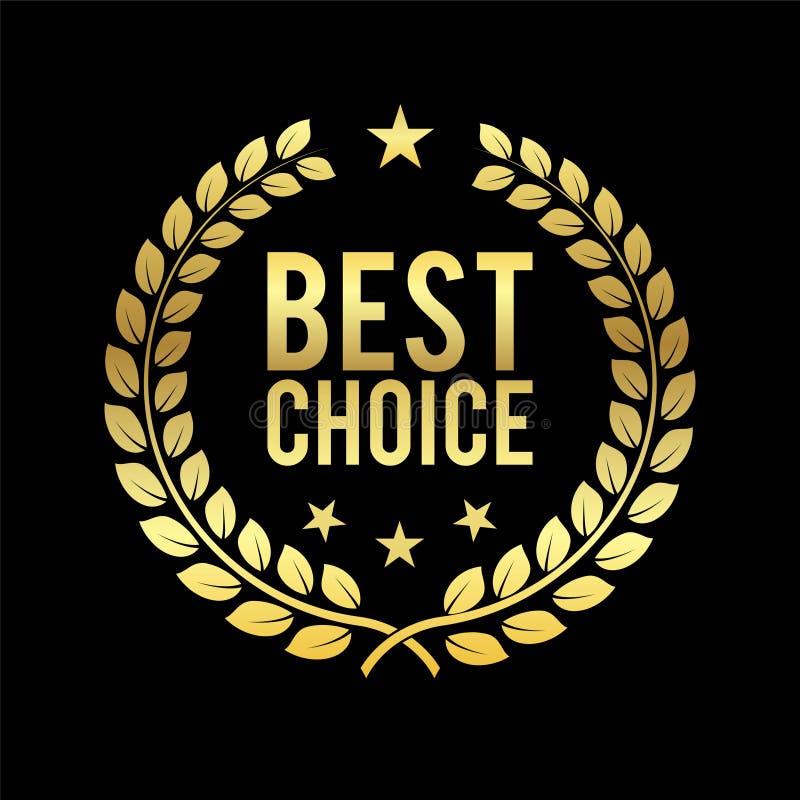 Grinalda dourada do louro A melhor concessão bem escolhida Etiqueta dourada Troféu para o desafio Ilustração do vetor do negócio ilustração stock