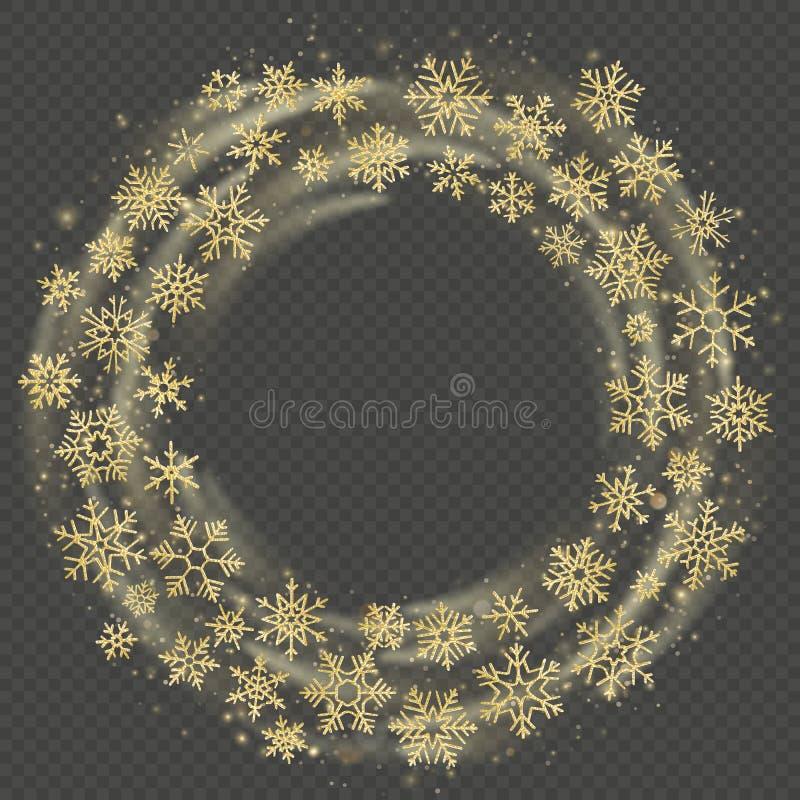 Grinalda dourada dos flocos de neve A celebração do quadro do Natal e do ano novo cobre o efeito Boas festas molde Eps 10 ilustração royalty free