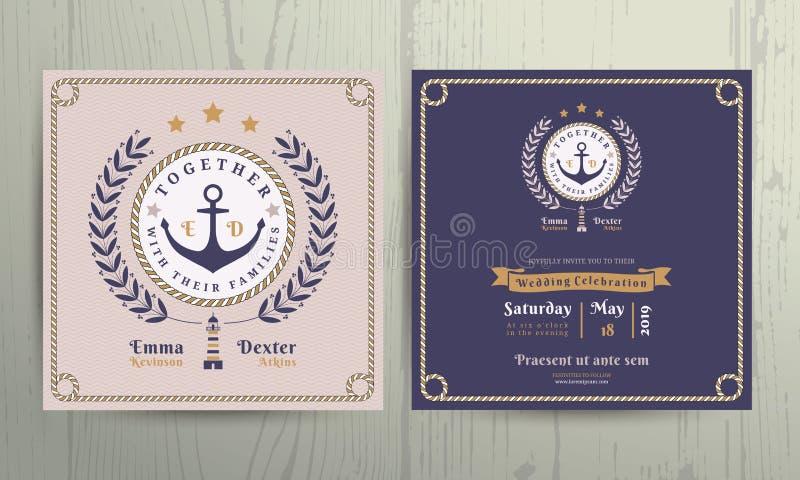 A grinalda e a corda náuticas do vintage moldam o molde do cartão do convite do casamento ilustração stock