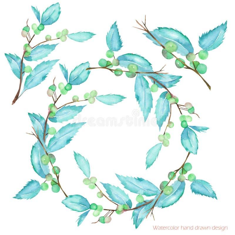 Grinalda e ilustração dos ramos da baga da floresta da aquarela e das folhas, mão tirada em uma aquarela em um fundo branco ilustração stock