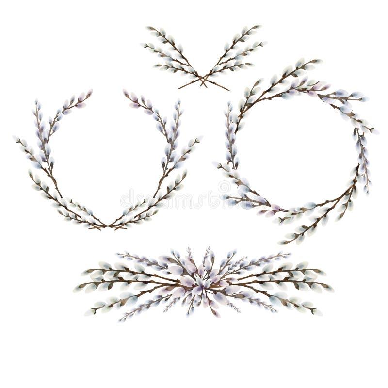 Grinalda e vinhetas do bichano-salgueiro da aquarela ilustração stock