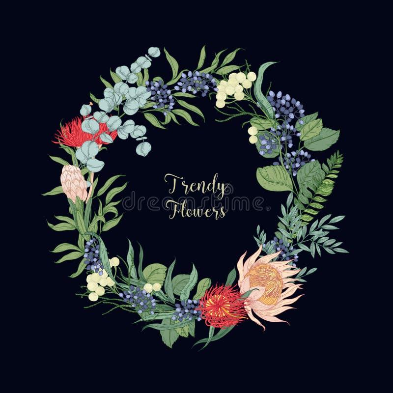 Grinalda feita de flores floristic de florescência bonitas na moda ou de plantas de florescência Decoração floral redonda bonita ilustração do vetor