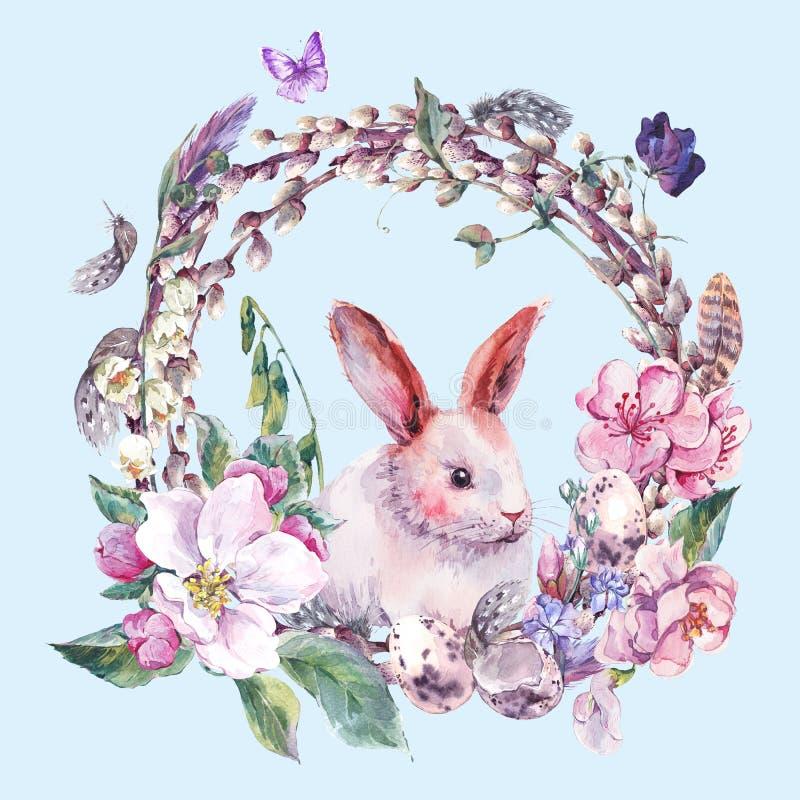 Grinalda feliz da Páscoa da mola da aquarela ilustração stock