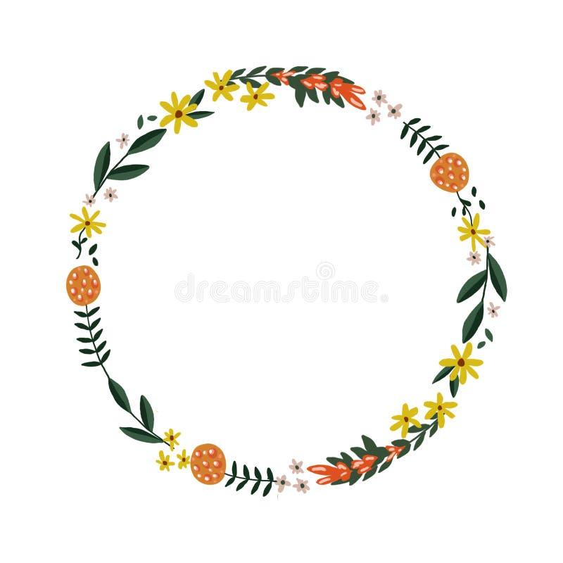 Grinalda floral abstrata ilustração royalty free