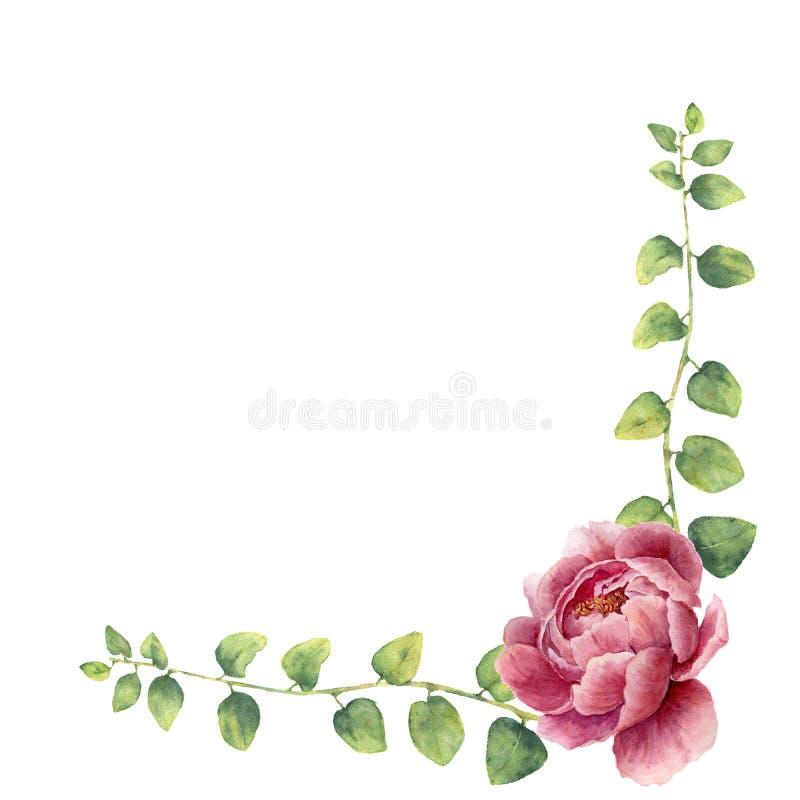 A grinalda floral da aquarela com as folhas da erva e da peônia do galho floresce Beira floral pintado à mão com ramos, folhas de ilustração stock