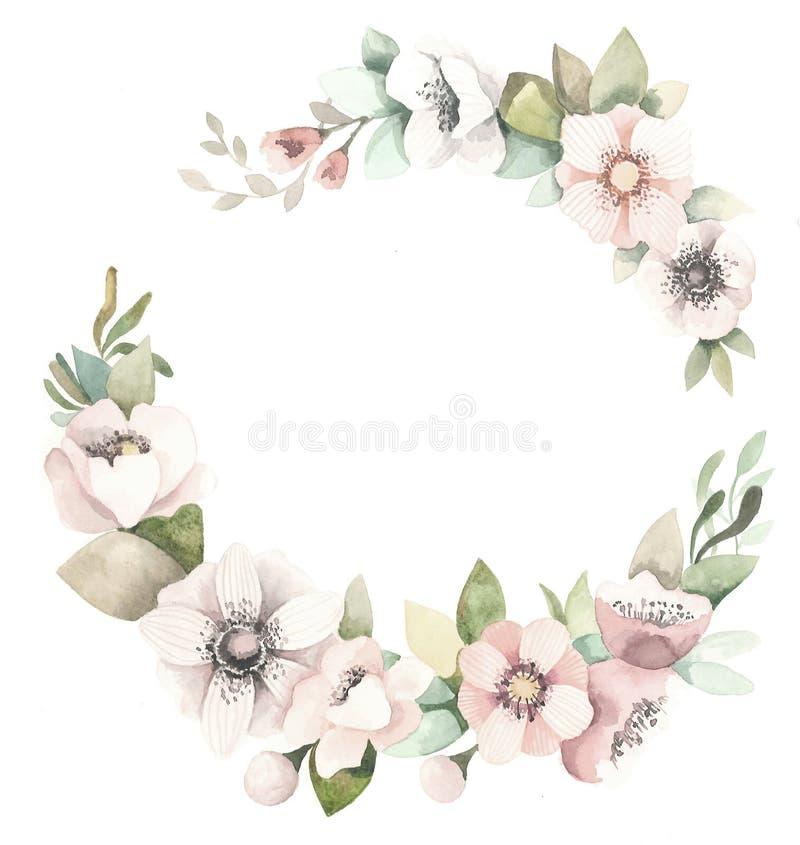 Grinalda floral da aquarela com magnólias, folhas do verde e ramos ilustração stock