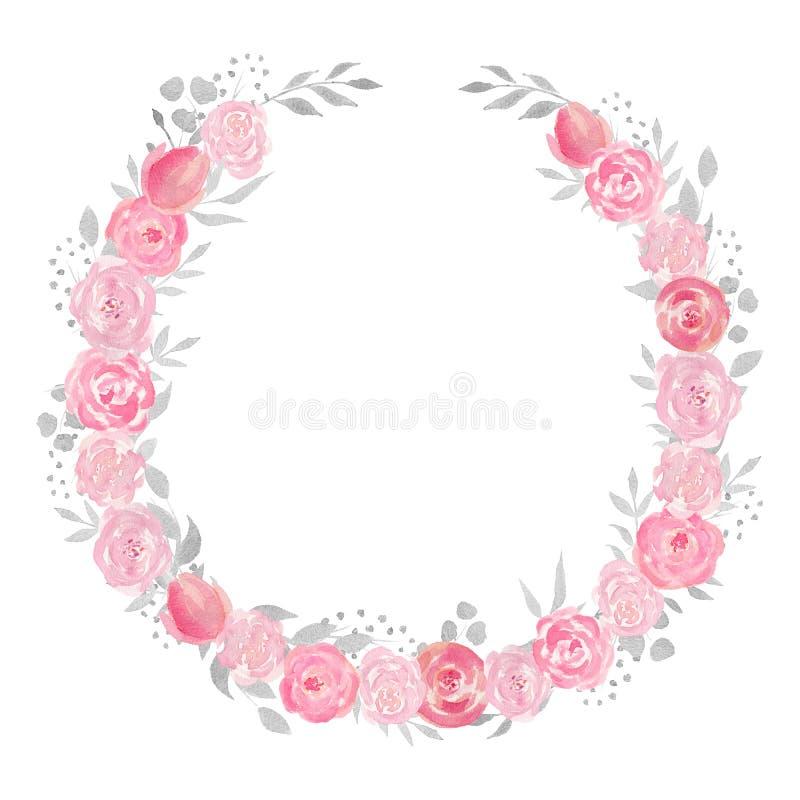 Grinalda floral da aquarela com rosa, folhas, flores e ramos ilustração royalty free
