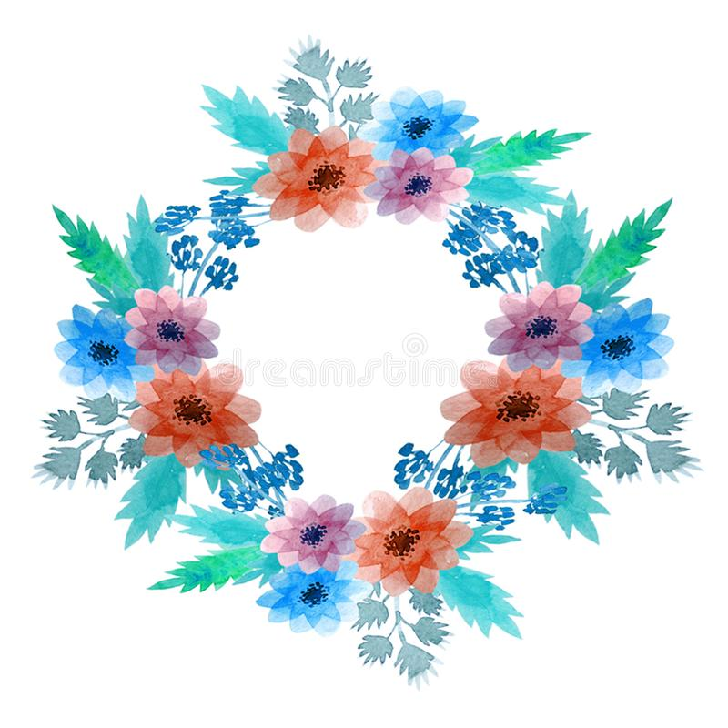 Grinalda floral da aquarela do sumário ilustração do vetor