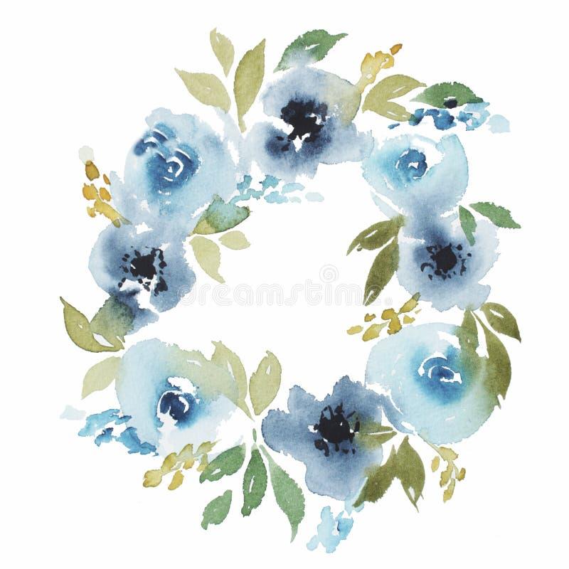 Grinalda floral da aquarela do sumário com rosa azul ilustração stock