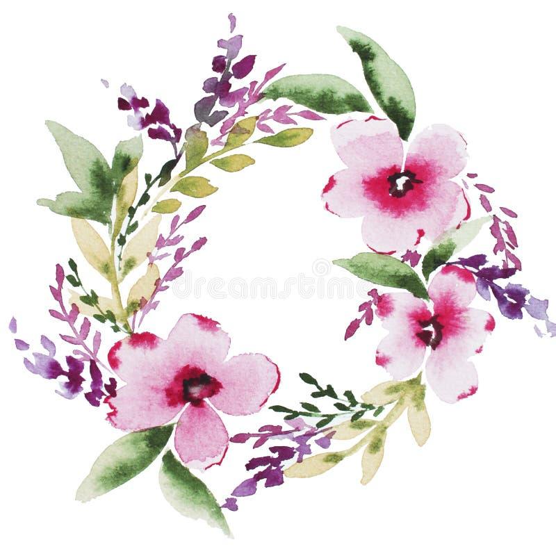 Grinalda floral da aquarela do sum?rio ilustração stock