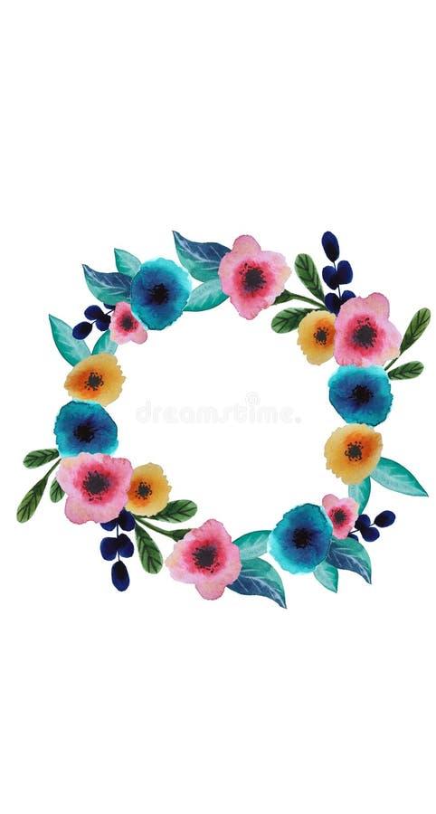 Grinalda floral da aquarela ilustração do vetor