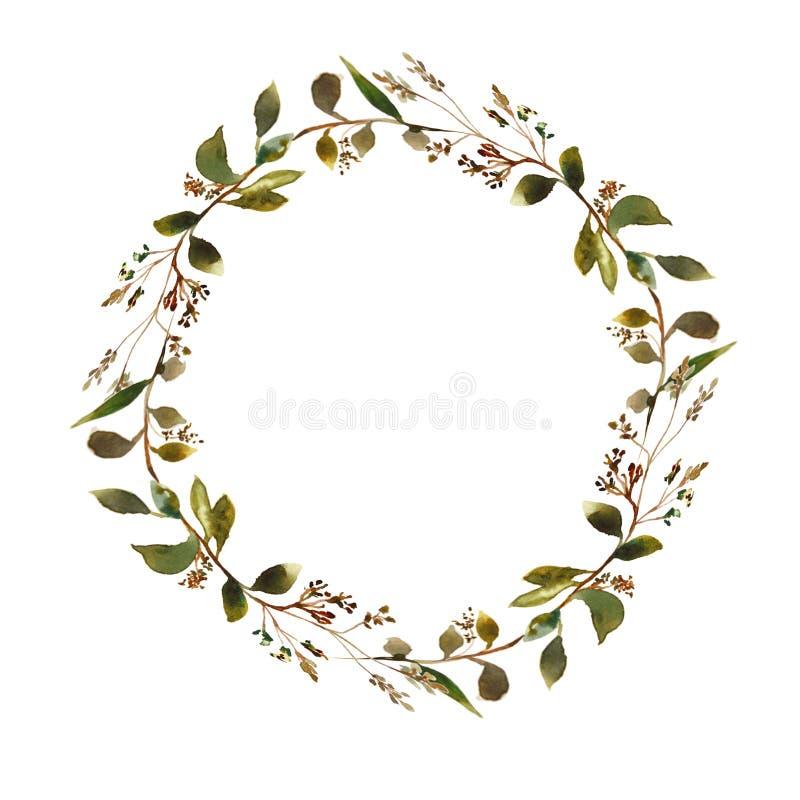 Grinalda floral da aquarela ilustração royalty free