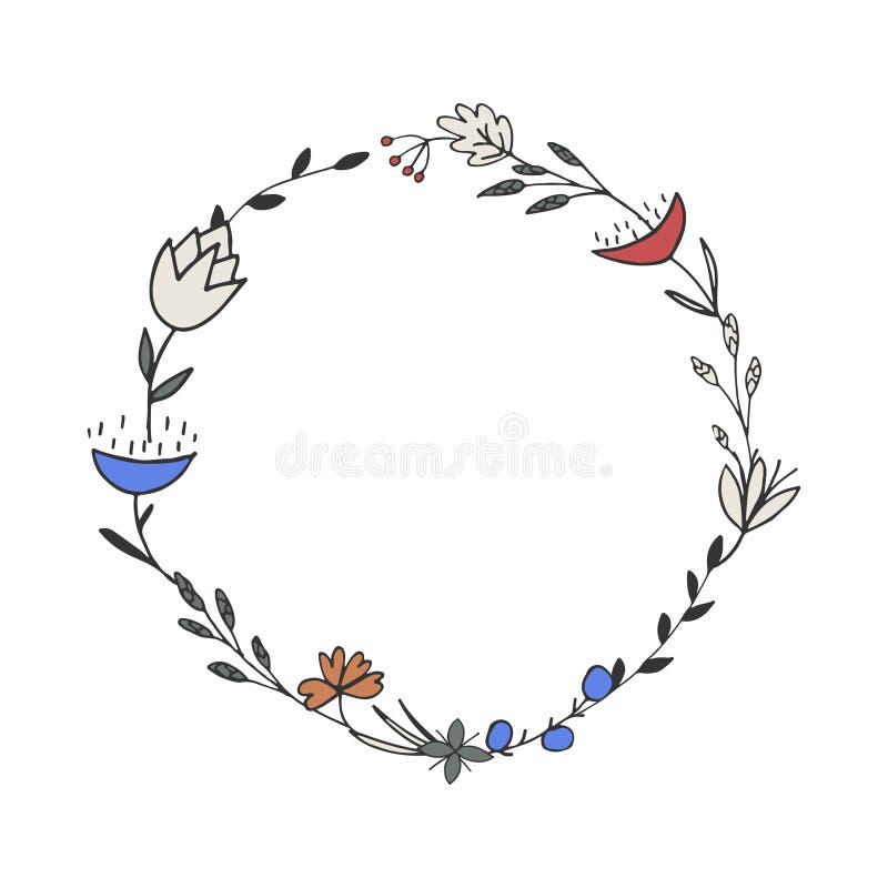 Grinalda floral da garatuja Frame do vetor ilustração stock