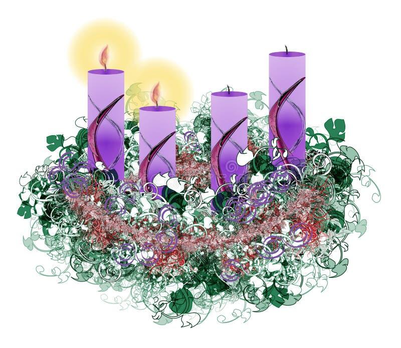 Grinalda floral decorada do advento com uma queimadura de duas velas do advento, ilustração royalty free