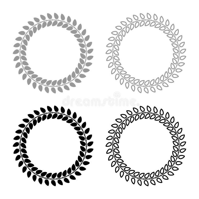 A grinalda floral do círculo das folhas em volta do ícone floral da beira dos quadros florais ajustou a imagem lisa do estilo da  ilustração stock