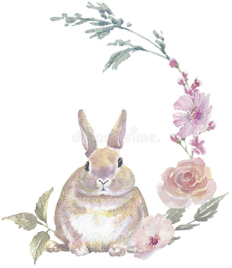 Grinalda floral do coelhinho da P?scoa foto de stock royalty free