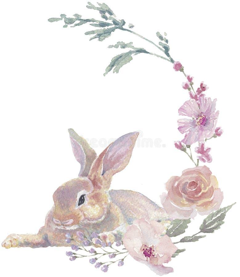 Grinalda floral do coelhinho da P?scoa imagens de stock royalty free
