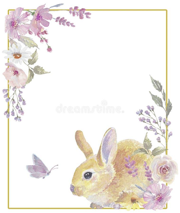 Grinalda floral do coelhinho da P?scoa fotos de stock royalty free