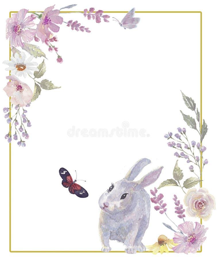 Grinalda floral do coelhinho da P?scoa foto de stock