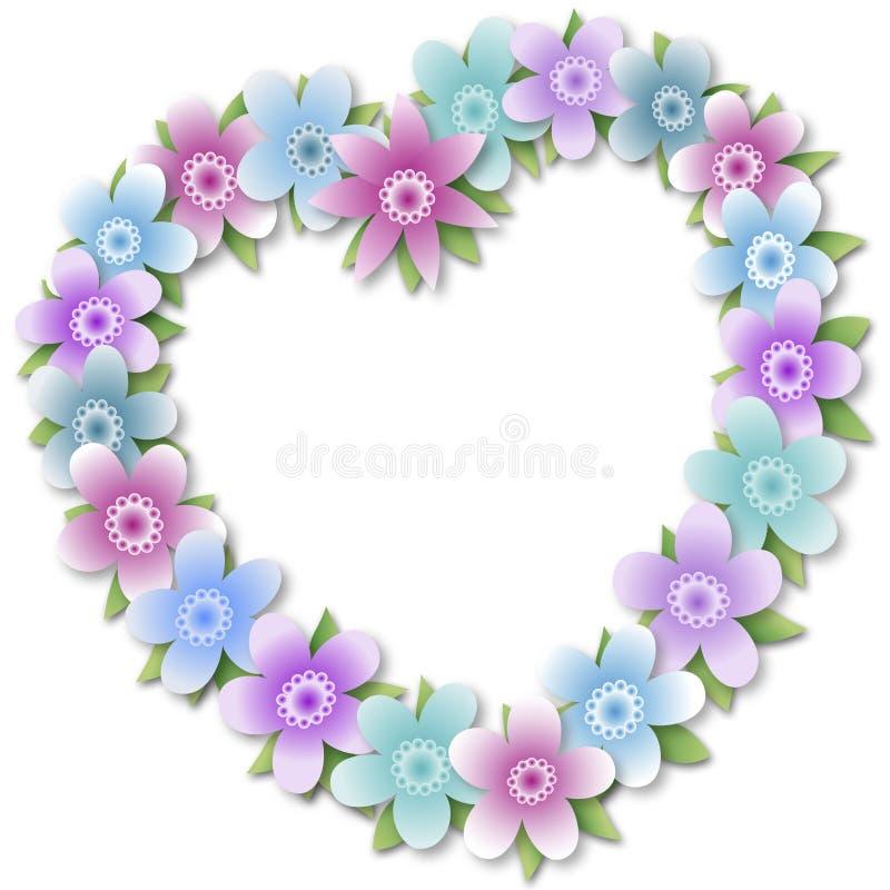 Grinalda floral do coração ilustração royalty free