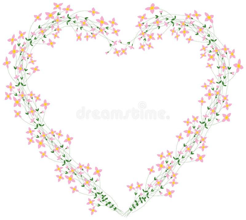 Grinalda floral do coração ilustração stock