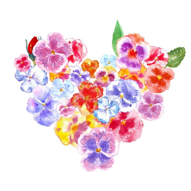 Grinalda floral do coração do rosa com as flores e as folhas do amor perfeito da aquarela, isoladas no fundo branco ilustração do vetor