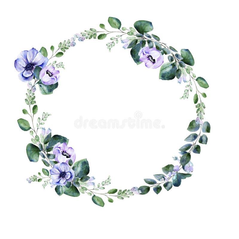 Grinalda floral do premade da flor da anêmona da aquarela ilustração do vetor
