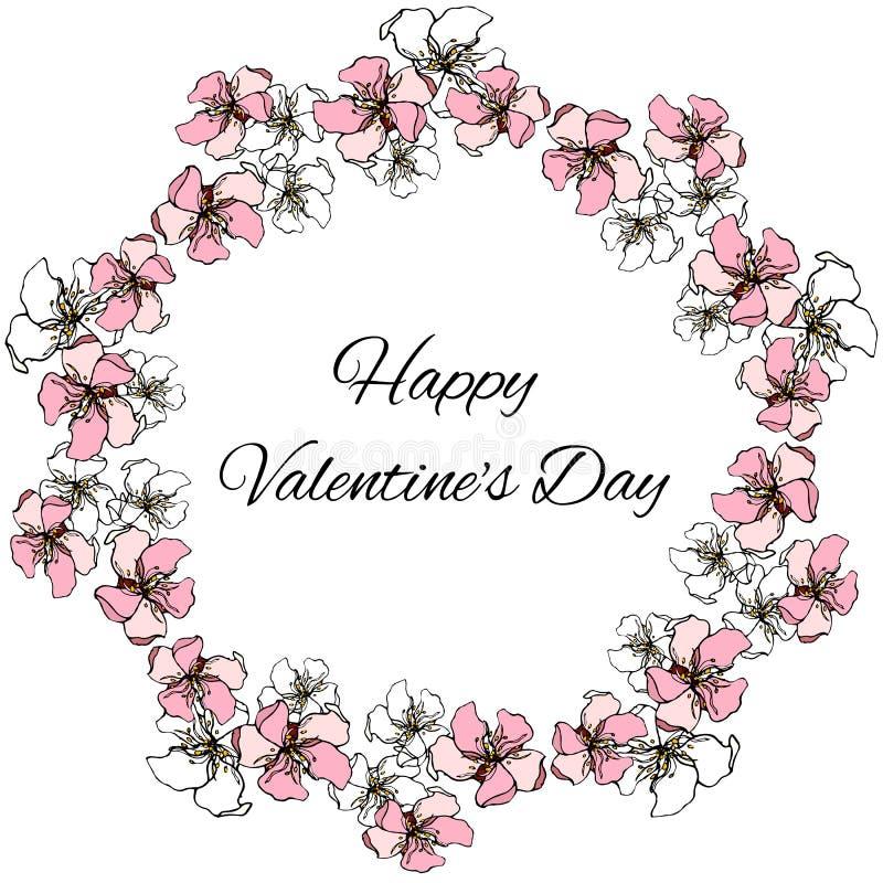 Grinalda floral do vetor das cores do rosa e as brancas para cumprimentos do dia de Valentim do St ilustração stock