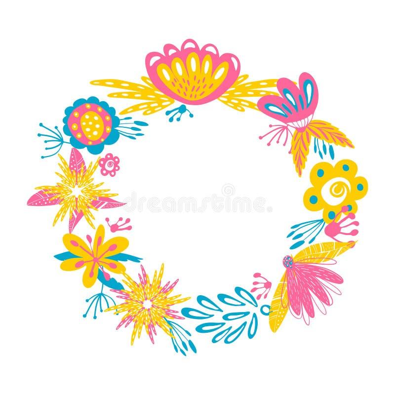 Grinalda floral do vetor O projeto abstrato com a mão da garatuja tirada floresce o quadro Pode ser usado como o convite, o cartã ilustração do vetor