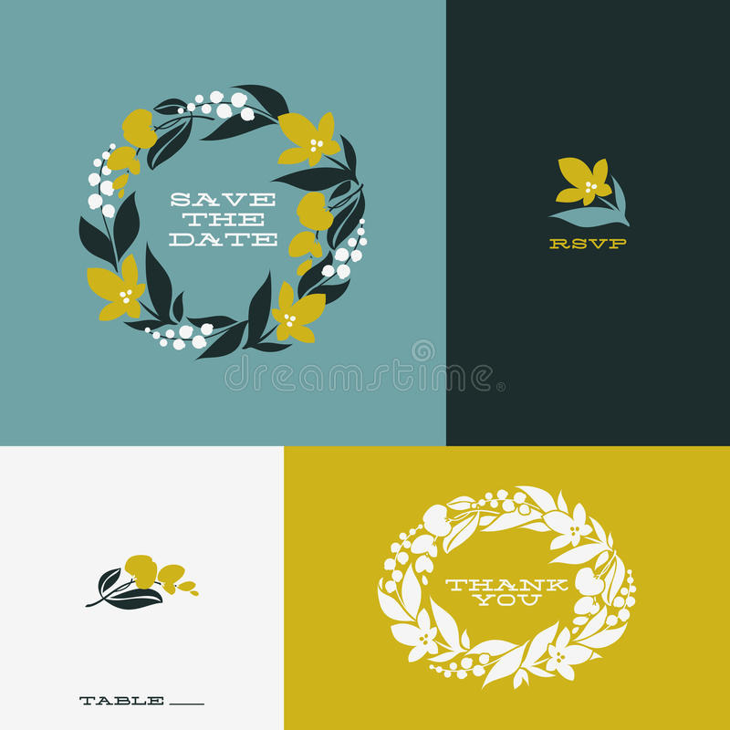 Grinalda floral Grupo de projeto liso bonito do vetor ilustração stock