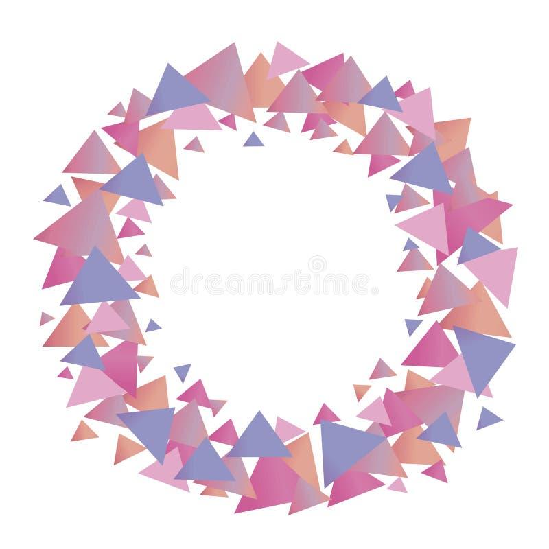 Grinalda gráfica bonito positiva colorido do vetor de triângulos lilás azuis cor-de-rosa do inclinação do objeto isolado de menin ilustração stock