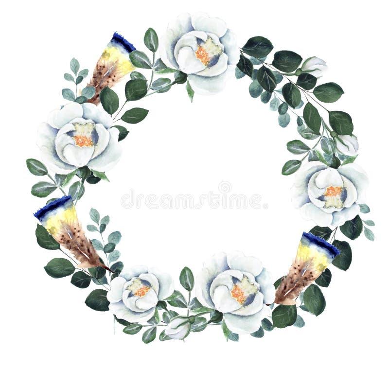 Grinalda isolada pre-feita floral do elemento no fundo branco ilustração royalty free