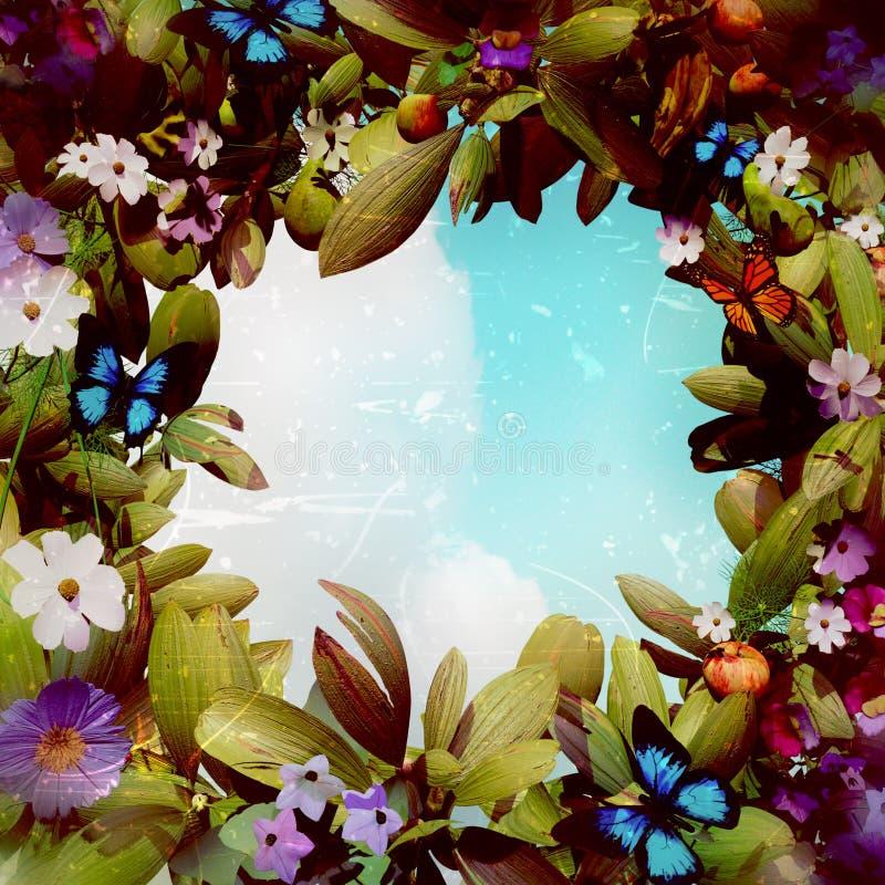 Grinalda mágica da flor da fantasia ilustração royalty free