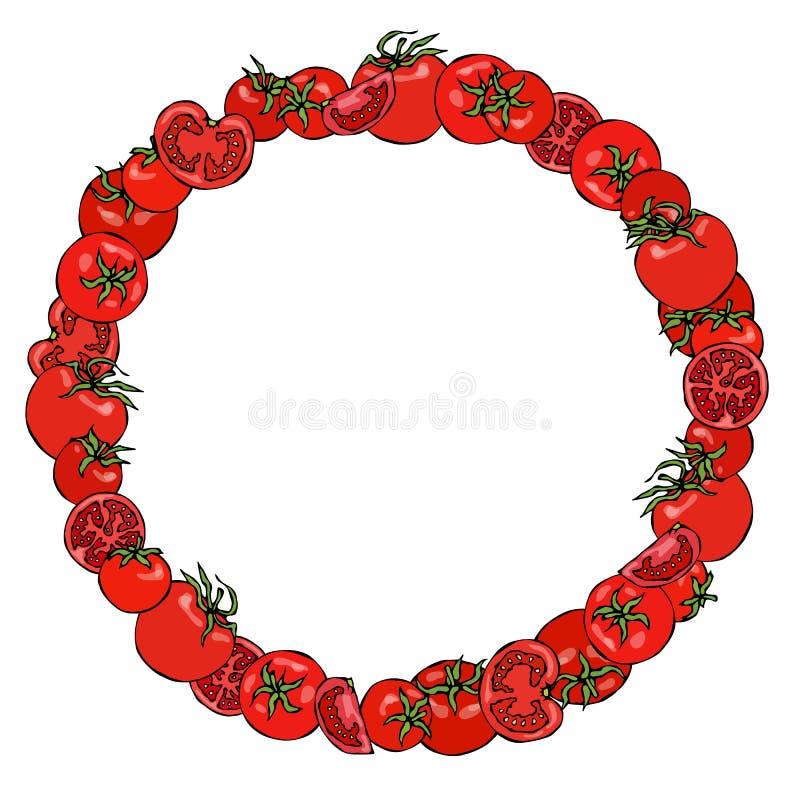 Grinalda ou quadro redondo com tomate, metades do tomate e fatias do tomate com sementes Logotipo da ketchup Salada vegetal madur ilustração do vetor