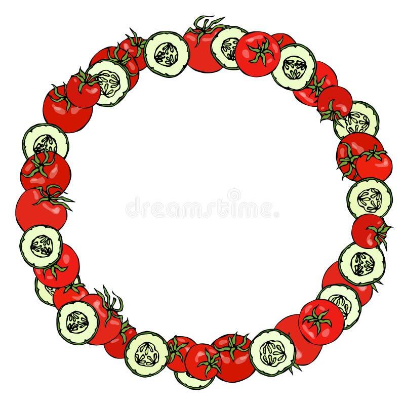 Grinalda ou quadro redondo com tomates e fatias verdes do pepino com sementes Logotipo da ketchup ou salada vegetal madura fresca ilustração royalty free