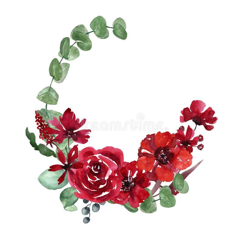 Grinalda pintado à mão da aquarela com as folhas verdes do eucalipto, as flores vermelhas e os ramos Quadro do convite do casamen ilustração royalty free