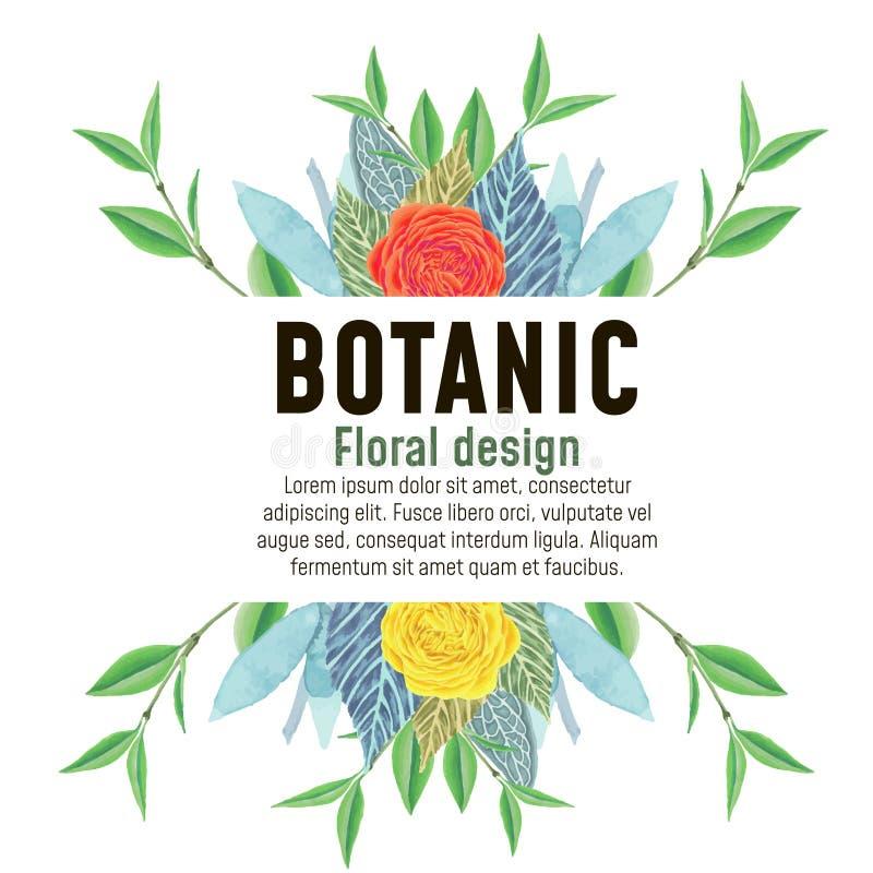 Grinalda, quadro floral, flores da aquarela ilustração stock