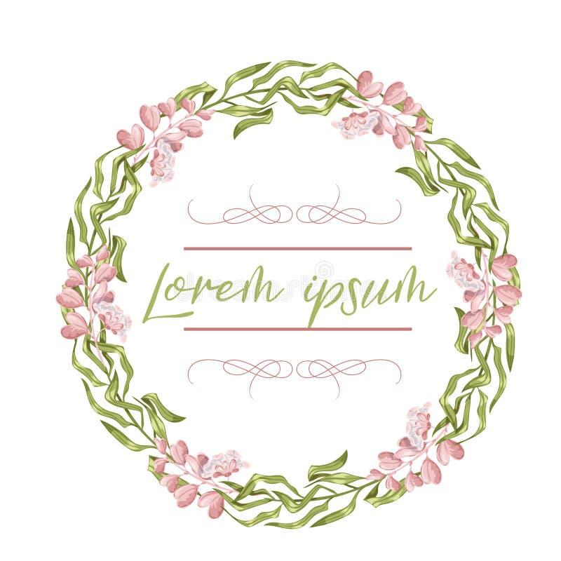 Grinalda, quadro floral, flores da aquarela, pe?nias e rosas, ilustra??o pintado ? m?o Isolado no fundo branco ilustração do vetor