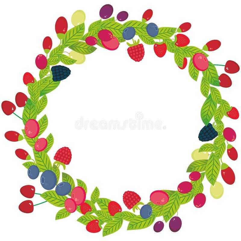 Grinalda redonda com as bagas suculentas frescas da uva de Goji da airela do arando de Cherry Strawberry Raspberry Blackberry Blu ilustração do vetor
