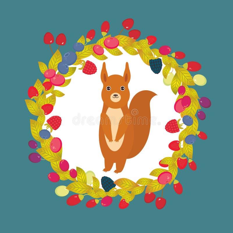 Grinalda redonda com esquilo vermelho, uva de Goji da airela do arando de Cherry Strawberry Raspberry Blackberry Blueberry na obs ilustração do vetor