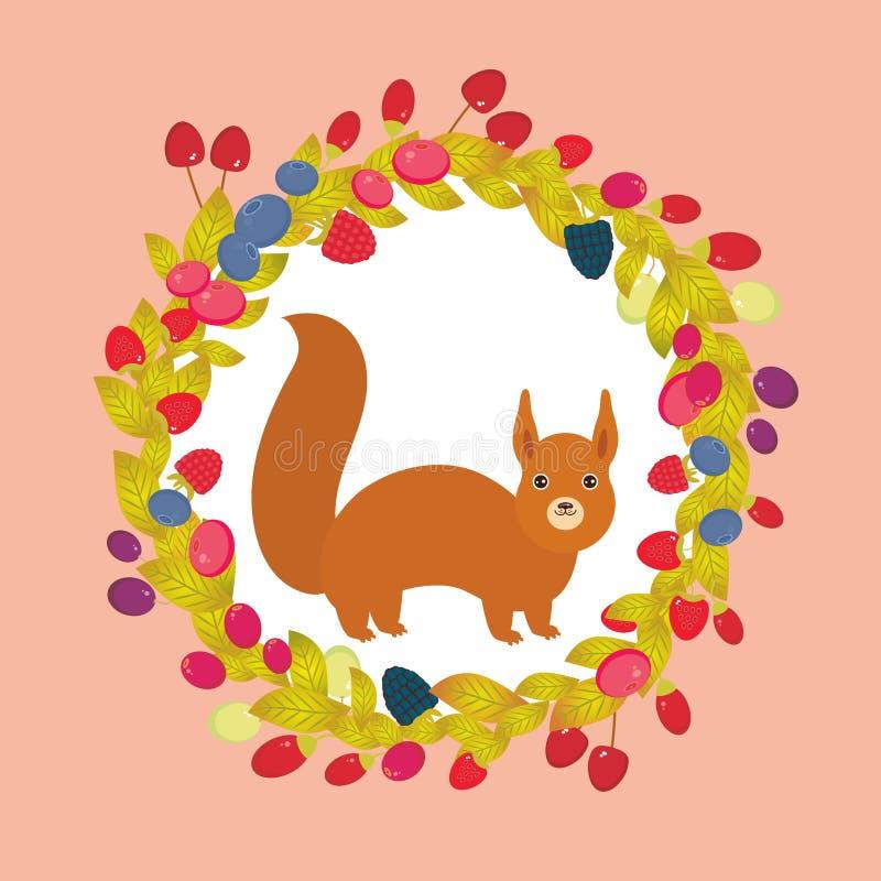 Grinalda redonda com esquilo vermelho, uva de Goji da airela do arando de Cherry Strawberry Raspberry Blackberry Blueberry no fun ilustração stock