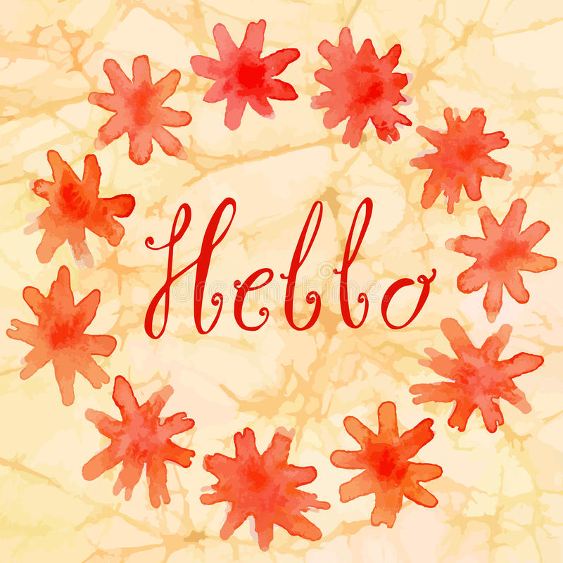 Grinalda redonda da aquarela de flores bonitas imagem de stock