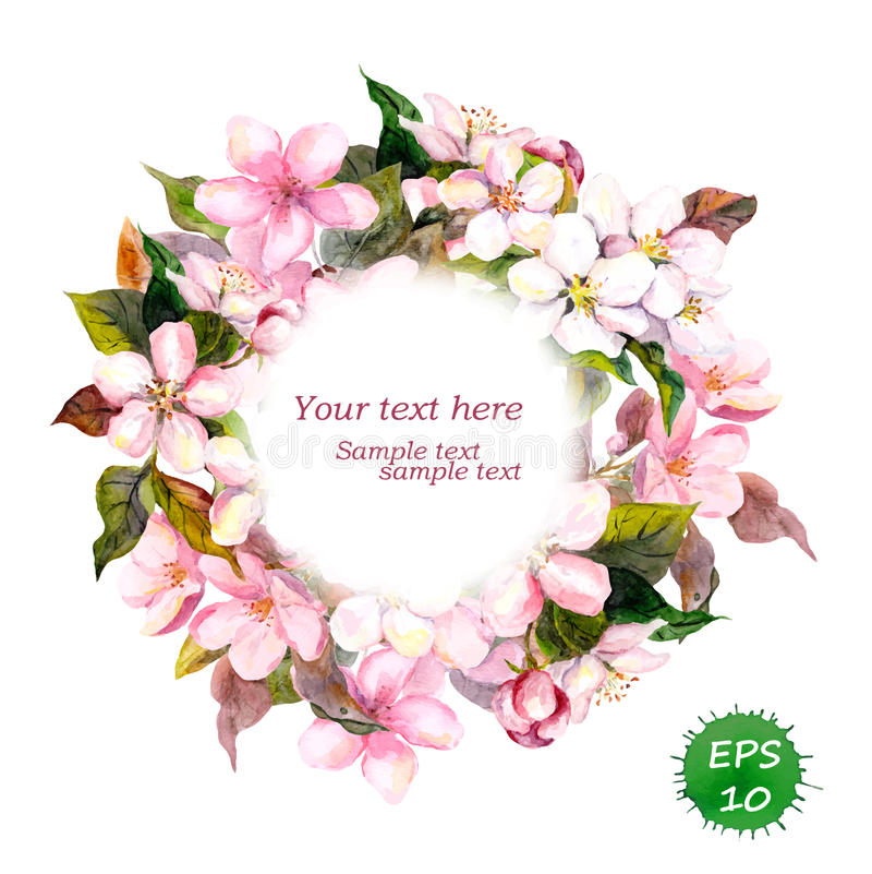 A grinalda redonda floral com as flores cor-de-rosa para o vintage elegante e a forma projetam Vetor da aquarela ilustração stock