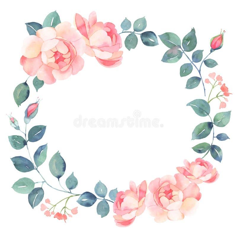 Grinalda romântica da aquarela das rosas ilustração do vetor