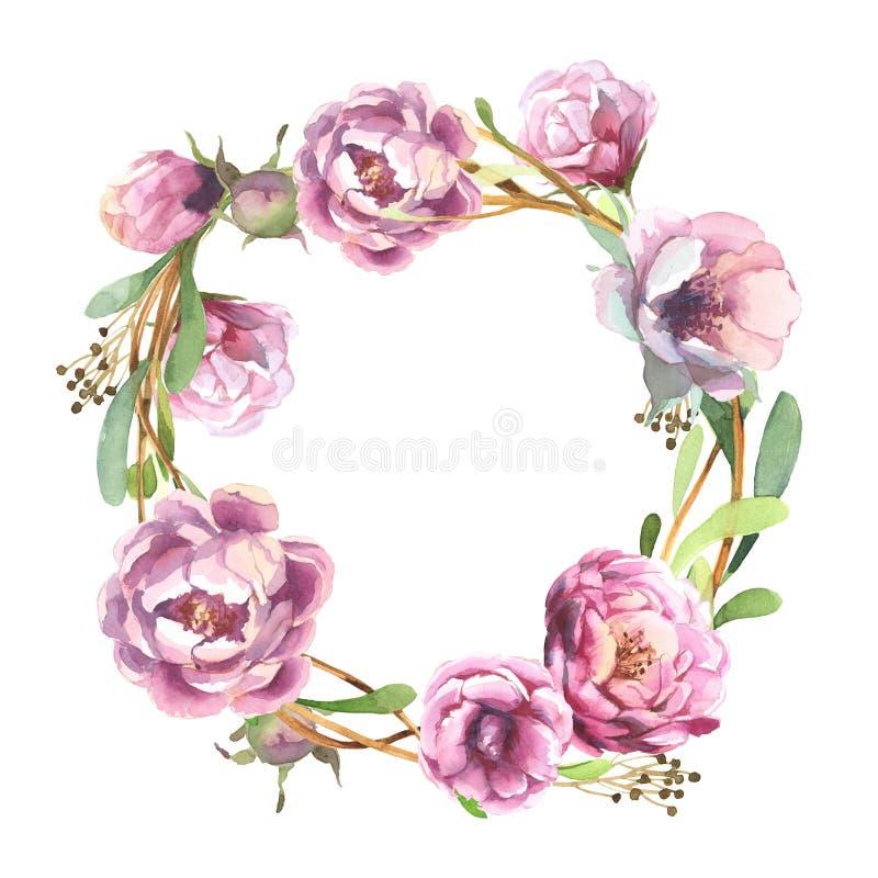 Grinalda romântica da aquarela da flor cor-de-rosa da peônia ilustração stock