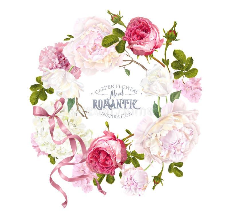 Grinalda romântica do jardim ilustração royalty free