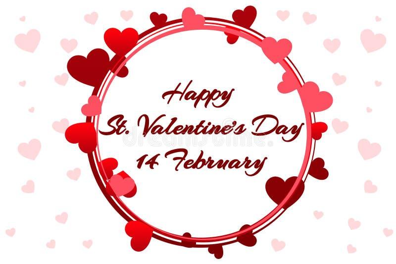 Grinalda romântica para Saint Valentine Day, convites do casamento, galinha-partido, o nascimento de uma menina, cartões, cartaz ilustração royalty free