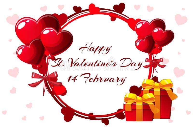 Grinalda romântica para Saint Valentine Day, convites do casamento, galinha-partido, o nascimento de uma menina, cartões, cartaz ilustração stock