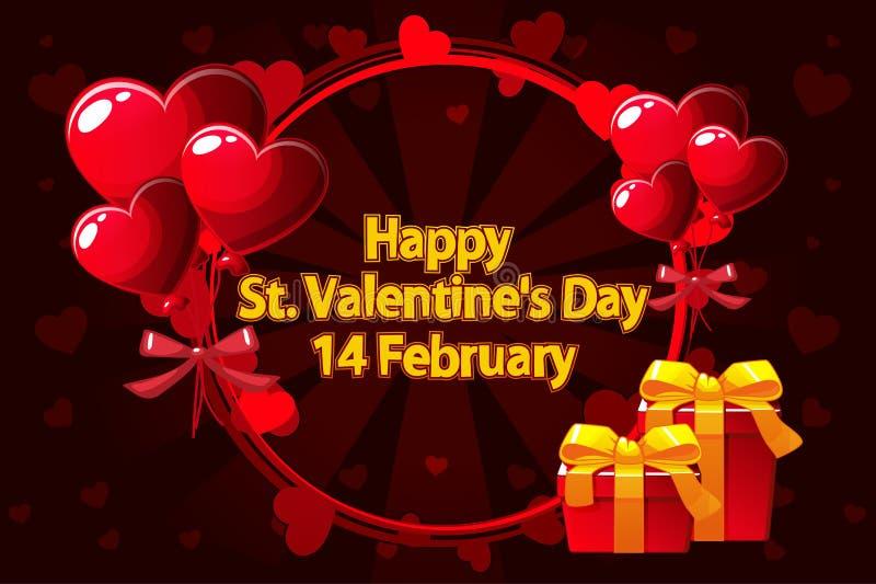 Grinalda romântica para Saint Valentine Day, convites do casamento, o nascimento de uma menina, cartões, cartaz Vetor ilustração do vetor