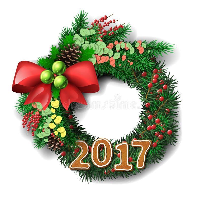Grinalda sempre-verde do feriado com número do pão-de-espécie de 2017 anos ilustração do vetor
